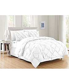 6-Piece Pintuck Bed-in-a-Bag Comforter Set Includes Bed Sheet Set with Double Sided Storage Pockets Twin/Twin XL