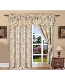"Elegant Comfort Elegance Linen Luxury Jacquard Curtain Panel Set with Attached Valance 55"" x 84"" - Set of 2"