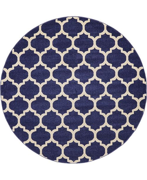 Bridgeport Home Arbor Arb1 Dark Blue 8' x 8' Round Area Rug