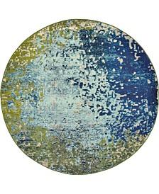 Bridgeport Home Newwolf New2 Blue 6' x 6' Round Area Rug