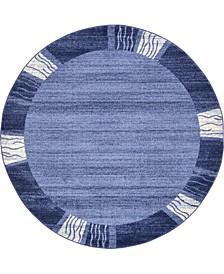 Lyon Lyo1 Navy Blue 6' x 6' Round Area Rug