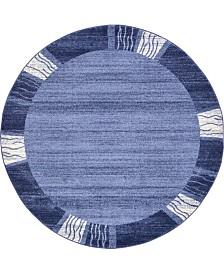 Bridgeport Home Lyon Lyo1 Navy Blue 6' x 6' Round Area Rug