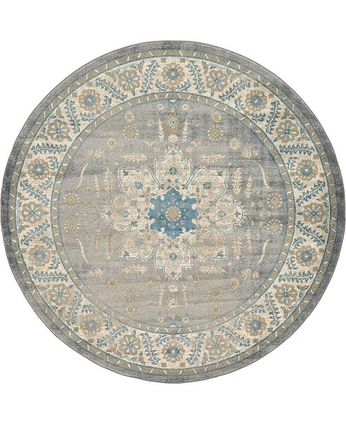 Bridgeport Home Bellmere Bel2 Gray 8' x 8' Round Area Rug