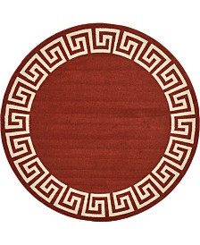 Bridgeport Home Anzu Anz2 Burgundy 8' x 8' Round Area Rug