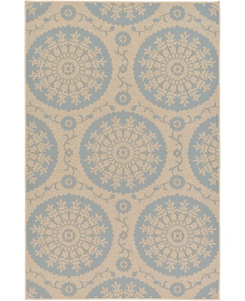 "Bridgeport Home Pashio Pas5 Light Blue 5' 3"" x 8' Area Rug"