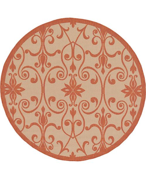 Bridgeport Home Pashio Pas5 Terracotta 6' x 6' Round Area Rug