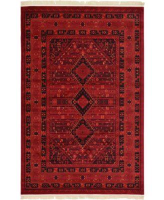 Vivaan Viv1 Red 6' x 9' Area Rug