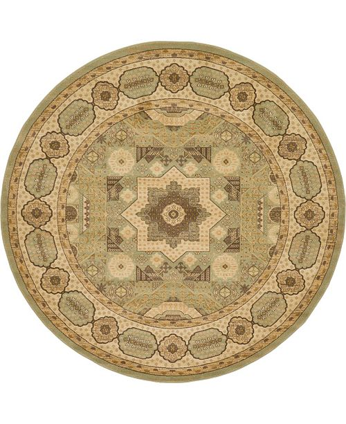 Bridgeport Home Wilder Wld2 Light Green 8' x 8' Round Area Rug