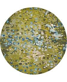 Bridgeport Home Adah Ada1 Green 8' x 8' Round Area Rug