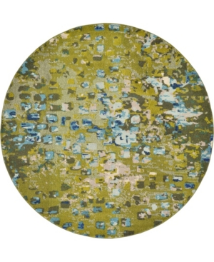 Bridgeport Home Adah Ada1 Green 8' x 8' Round Area Rug