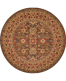 Bridgeport Home Orwyn Orw1 Light Brown 6' x 6' Round Area Rug