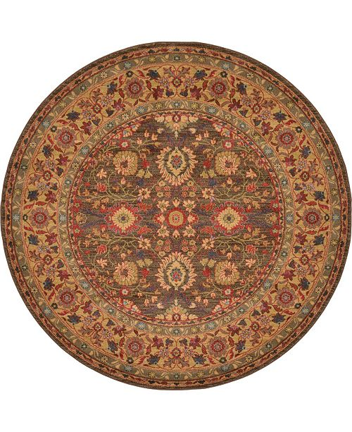 Bridgeport Home Orwyn Orw1 Light Brown 6' x 6' Round Area Rug
