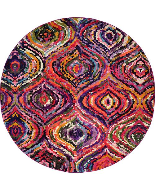 Bridgeport Home Newwolf New1 Multi 8' x 8' Round Area Rug