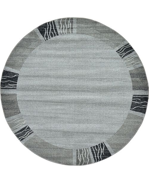 Bridgeport Home Lyon Lyo1 Light Gray 8' x 8' Round Area Rug