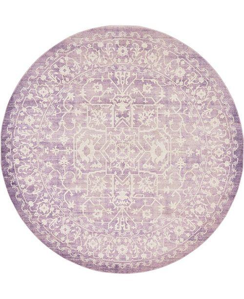 Bridgeport Home Norston Nor1 Purple 8' x 8' Round Area Rug