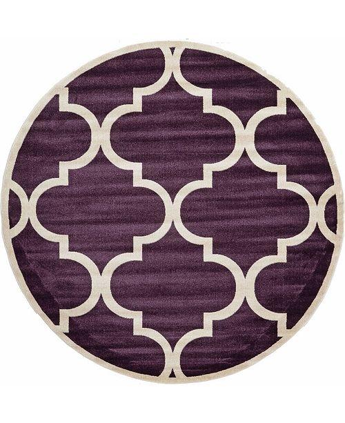 Bridgeport Home Arbor Arb3 Dark Purple 8' x 8' Round Area Rug