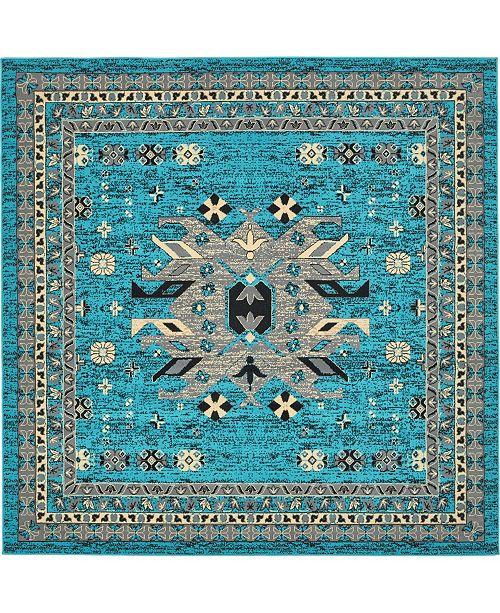 Bridgeport Home Charvi Chr1 Turquoise 8' x 8' Square Area Rug