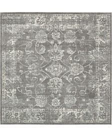 "Wisdom Wis6 Dark Gray 8' 4"" x 8' 4"" Square Area Rug"