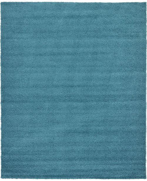 Bridgeport Home Exact Shag Exs1 Deep Aqua Blue 12' x 15' Area Rug