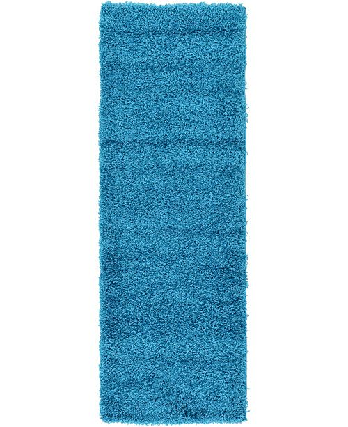 "Bridgeport Home Exact Shag Exs1 Turquoise 2' 2"" x 6' 5"" Runner Area Rug"