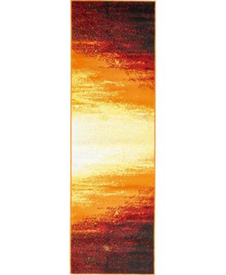 "Politan Pol1 Orange 2' x 6' 7"" Runner Area Rug"
