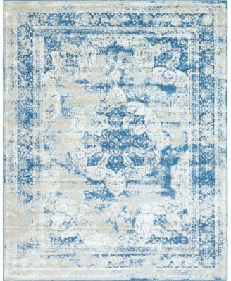 Basha Bas2 Blue 8' x 8' Square Area Rug