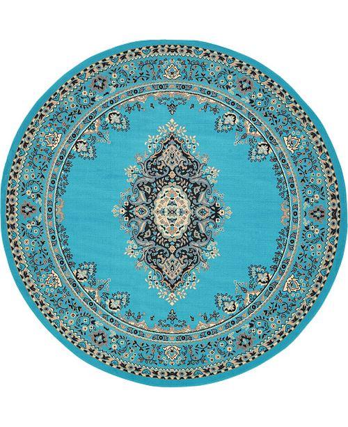 Bridgeport Home Birsu Bir1 Turquoise 8' x 8' Round Area Rug