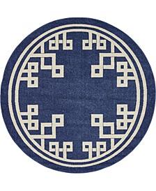 Anzu Anz3 Navy Blue 6' x 6' Round Area Rug