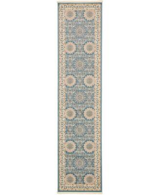 Zara Zar8 Blue 3' x 13' Runner Area Rug