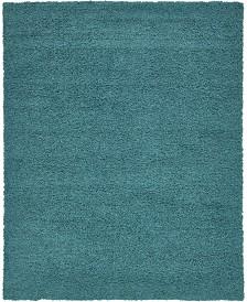 Bridgeport Home Exact Shag Exs1 Deep Aqua Blue 8' x 10' Area Rug