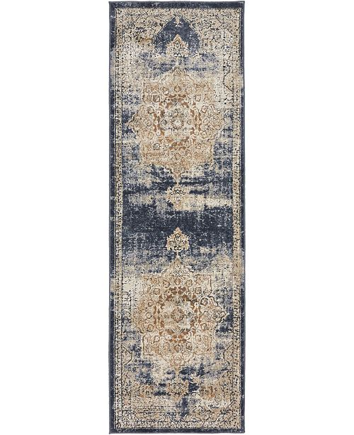"Bridgeport Home Odette Ode1 Dark Blue 2' 2"" x 6' 7"" Runner Area Rug"