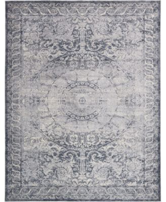 Odette Ode7 Dark Blue 3' x 13' Runner Area Rug