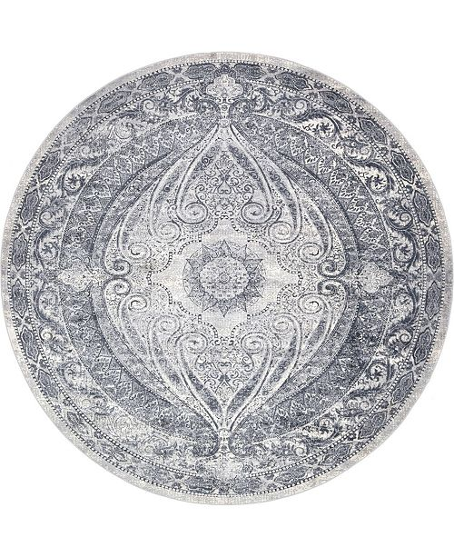 Bridgeport Home Odette Ode8 Dark Blue 8' x 8' Round Area Rug