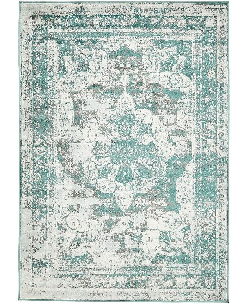 Bridgeport Home Basha Bas2 Turquoise 4' x 6' Area Rug