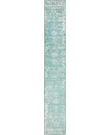 Bridgeport Home Basha Bas1 Turquoise 2' x 13' Runner Area Rug