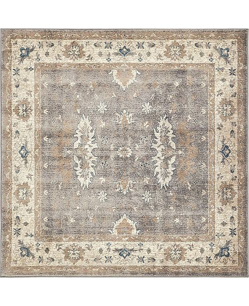 Bridgeport Home Bellmere Bel5 Gray 5' x 5' Square Area Rug