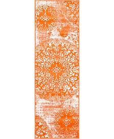 "Basha Bas7 Orange 2' x 6' 7"" Runner Area Rug"