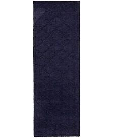"""Filigree Shag Fil2 Navy Blue 2' x 6' 7"""" Runner Area Rug"""