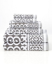 Arabesque 6-Piece 100% Cotton Bath Towel Set