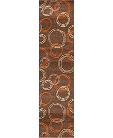 "Jasia Jas05 Brown 2' 6"" x 10' Runner Area Rug"