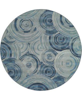Pashio Pas1 Light Blue 8' x 8' Round Area Rug