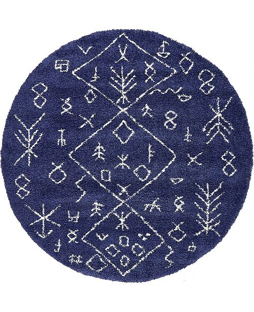 Bridgeport Home Fazil Shag Faz1 Navy Blue 8' x 8' Round Area Rug