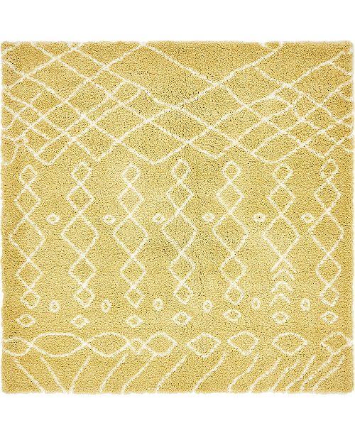 Bridgeport Home Fazil Shag Faz2 Yellow 8' x 8' Square Area Rug