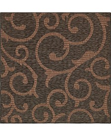 Bridgeport Home Pashio Pas7 Chocolate Brown 6' x 6' Square Area Rug