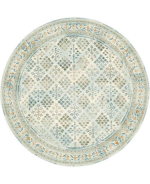 Bridgeport Home Reese Ree6 Light Blue 6' x 6' Round Area Rug