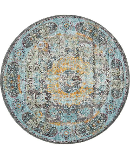 "Bridgeport Home Kenna Ken2 Blue 8' 2"" x 8' 2"" Round Area Rug"