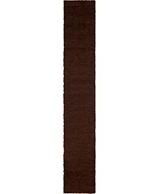 "Exact Shag Exs1 Chocolate Brown 2' 6"" x 16' 5"" Runner Area Rug"