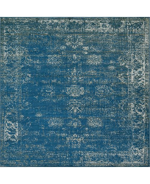 Bridgeport Home Basha Bas1 Blue 8' x 8' Square Area Rug