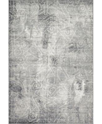Basha Bas6 Dark Gray 6' x 9' Area Rug