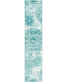 "Basha Bas7 Turquoise 2' x 9' 10"" Runner Area Rug"